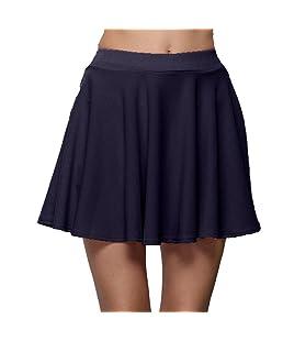 FAMILIZO_Faldas Cortas Mujer Verano Faldas Tubo De Moda Faldas Tul Mujer Faldas Altas De Cintura Faldas Acampanadas De Mujer Mini Faldas (L, Armada)