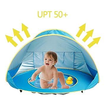 Tienda de Playa para Bebés, Portátiles Ligero Pop-up Tienda de Campaña bebé con Pequeña Piscina Automática Plegable Protección Solar Anti UV 50+ ...