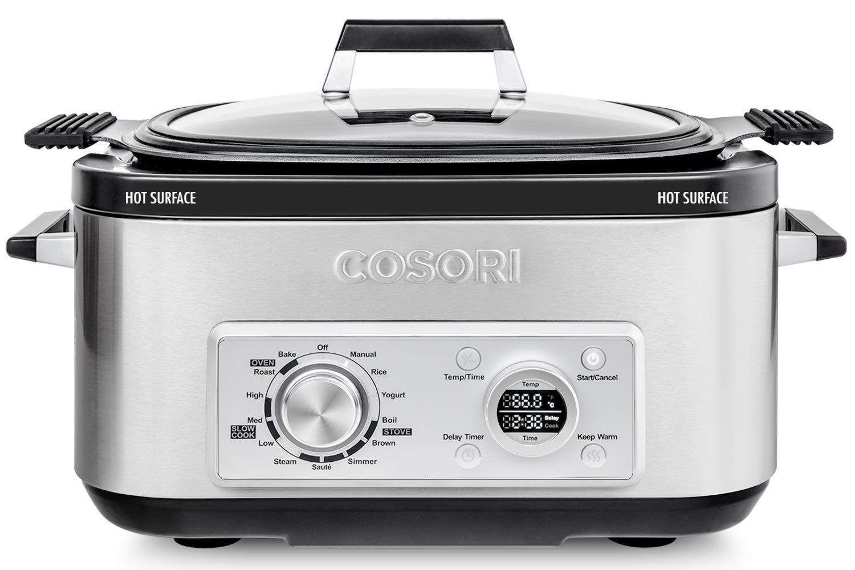 COSORI Slow Cooker 6-Quart 11-in-1 Programmable Multi-Cooker Pot, Rice Cooker, Auto-Warmer, Delay Timer,86 F-400 F,UL Listed FDA Compliant, Silver