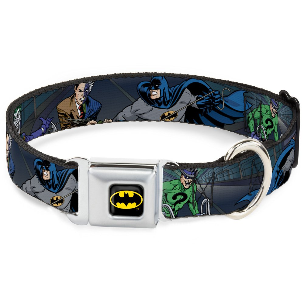 1.5\ Buckle-Down Seatbelt Buckle Dog Collar Batman Battling Villains in Tunnel 1.5  Wide Fits 13-18  Neck Small