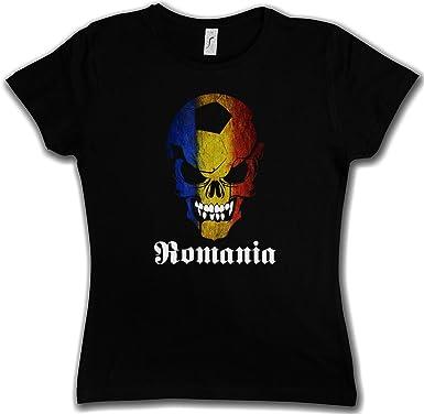 Urban Backwoods Black Classic Romania Football SKULLFLAG Damen T-Shirt– Fußball  Fan Hooligan Totenkopf