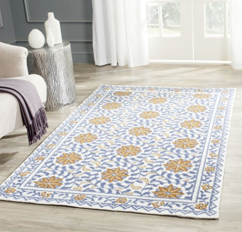 Safavieh Chelsea Collection HK150A Hand-Hooked Ivory and Blue Premium Wool Area Rug (3'9