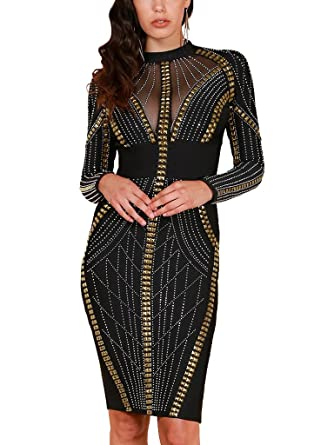 e69f7e59c48 S Curve Women s Crystal Stone   Stud Embellished Bandage Dress Bodycon Long  Sleeve Homecoming Cocktail Party