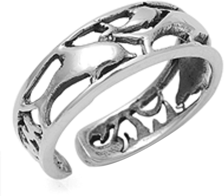 2Hearts Anillo Ajustable para Dedo del pie con Delfines de Plata esterlina de Oro Blanco de 14K Fn.