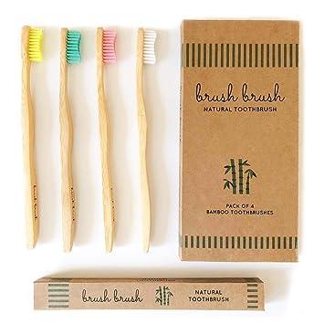 Cepillo de Dientes de Bambu | Ecologico | Mango Biodegradable con Cerdas Suaves y Multicolores y