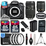 Holiday Saving Bundle for D7100 DSLR Camera + Tamron 70-300mm Di LD Lens + AF-P 18-55mm + 2yr Extended Warranty + 32GB Class 10 Memory Card + 16GB Class 10 + Macro Filter Kit - International Version