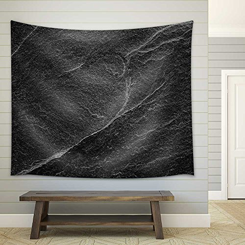 Dark grey black slate background or abstract natural stone texture Fabric Wall Tapestry