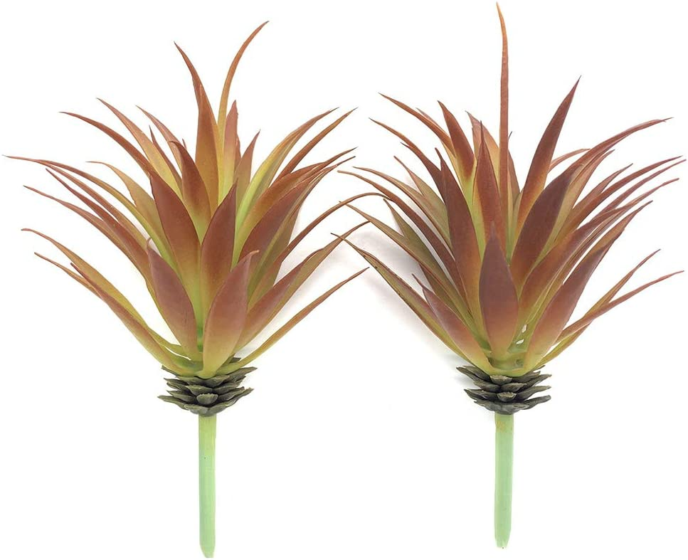 EBUYOM 2 PCS Artificial Succulents Plants Real Touch Lifelike Succulants Plants Faux Greenery Plants Garden DIY Home Office Decoration Ornament (Red Agave)