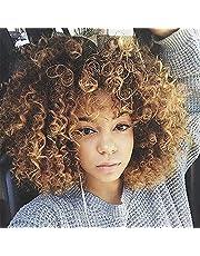 HTDYLHH Vackra peruker, Syntetisk afroamerikansk peruks kinky Curly Hair Wig med Bangs Brown Blondinblandad peruk Kort Curly Wigs för Kvinnor Värmebeständig Fiber Afro Curly Wig för daglig användning