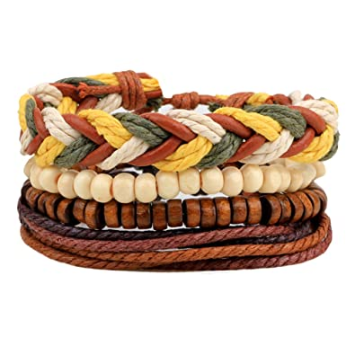 Demiawaking Unisex Braided Bracelets Charms, Adjustable Multi Strand Braided Wristbands Wooden Beads Bracelet Wrist