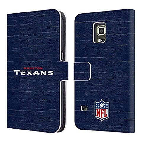 Official NFL Distressed Houston Texans Logo Leather Book Wallet Case Cover For Samsung Galaxy S5 (Houston Texans Samsung S5 Case)