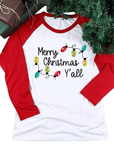 Merry Christmas Letter Y.Merry Christmas Y All Tshirt Women Lovely Christmas Lights Letters Print Tee Raglan Funny Cute Tee Tops
