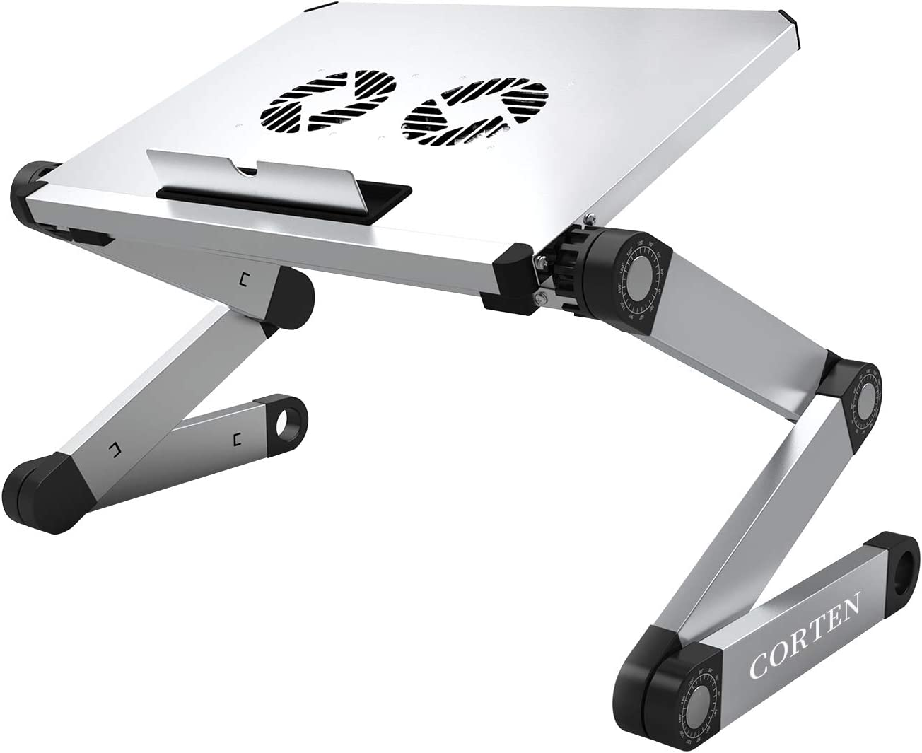 Ergonomic Portable Laptop Stand Table Desk Foldable Lap Tray for Bed Sofa Fully Adjustable Height and Angle Laptop Riser with USB Fans for Work from Home or Travel(Silver)