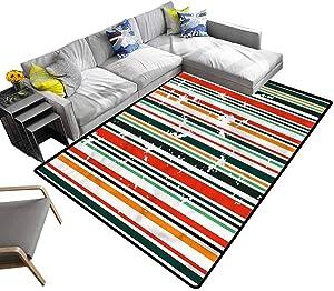 Modern, Home Decor Rugs Barcode Style Grunge Design Non-Slip Backing Soft Carpet for Bedroom Playroom Nursery, Best Shower Gift, 5'x 7'