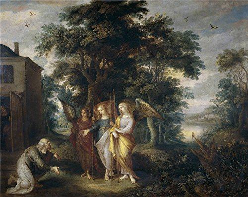 - Oil Painting 'Francken Frans II Abraham Y Los Tres Angeles ' Printing On Perfect Effect Canvas , 18 X 23 Inch / 46 X 58 Cm ,the Best Dining Room Decor And Home Decor And Gifts Is This Beautiful Art Decorative Prints On Canvas