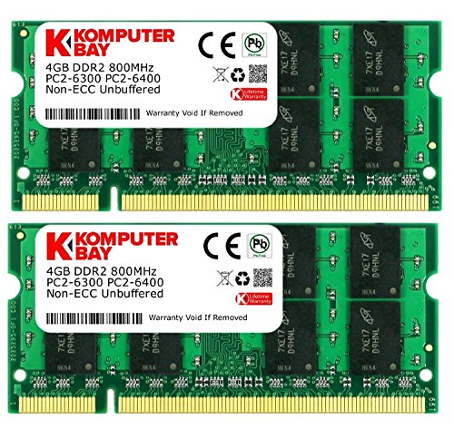 Komputerbay 8 GB (2 x 4GB) PC2-6400 DDR2-800 SoDIMM Dual Channel Laptop Memory Kit