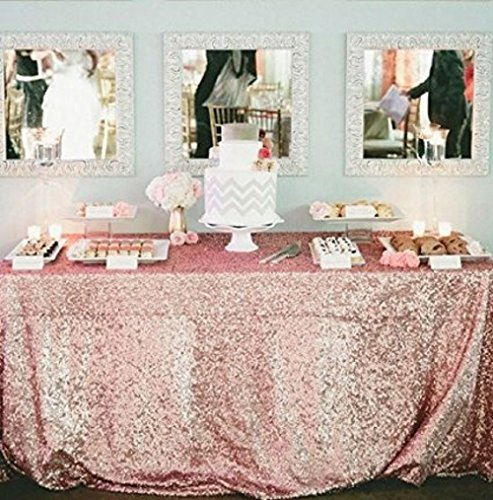 New Tablecloth - BalsaCircle TRLYC 50x50-Inch Square Sequin Tablecloth for Wedding Happy New Year-Blush Pink