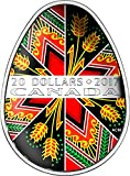 2017 CA Pysanka TRADITIONAL UKRAINIAN Easter Colored Egg Shape Folk Art Silver Coin 20$ Canada 2017 Proof