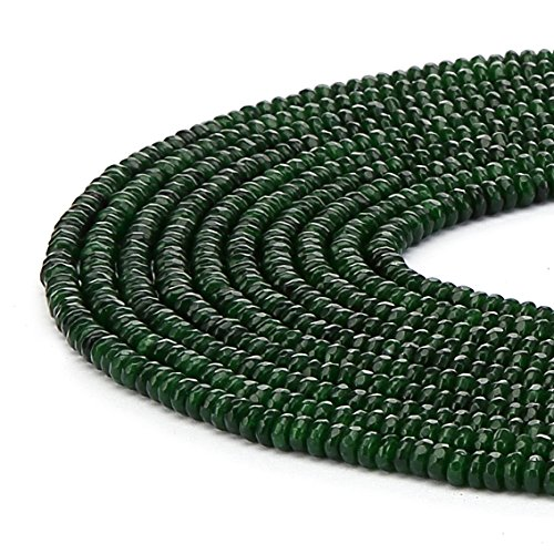 BRCbeads Emerald Color Jade Gemstone Faceted Rondelle Loose Beads 2x4mm Approxi 15.5 inch 165pcs 1 Strand per Bag for Jewelry Making