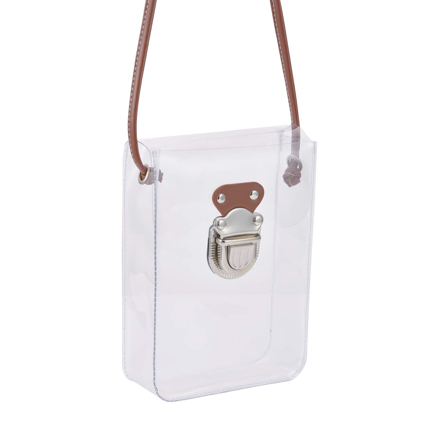 NFL Stadium Approved Transparent Messenger Bag with DIY Shoulder Strap GreenPine Mini Clear Purse Shoulder Bag for Women