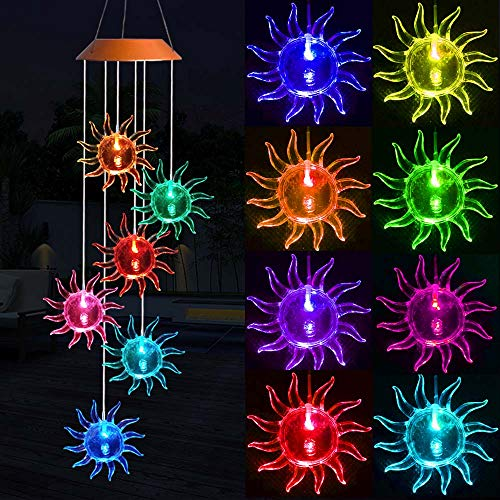 Solar Sunflowers Wind Chimes, Outdoor Waterproof Mobile Romantic LED Color-Changing Multi Solar Sensor Powered Wind Chimes Lights for Home, Yard, Night Garden, Party, Valentines Gift, Festival Decor