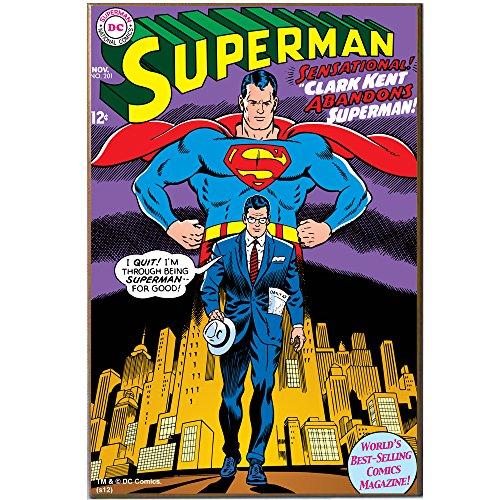 Silver Buffalo SP1636 DC Comics Superman/Clark Kent Wood Wall Art Plaque, 13 x19 inches (Marvel Comics Wood Plaque Wall)