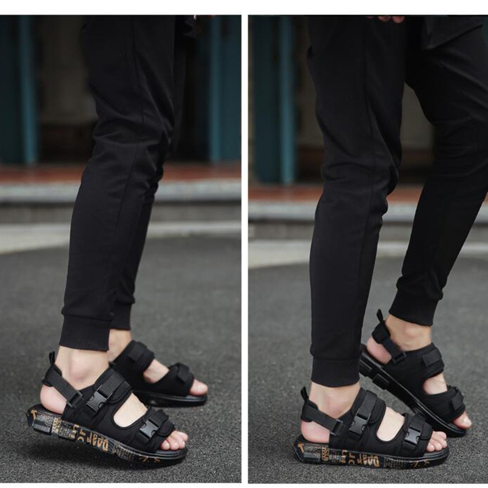 QIDI Sandales PU Trend Été Mâle Sauvage Extérieur Noir Chaussures De Plage (Couleur : T1, taille : EU43/UK9)