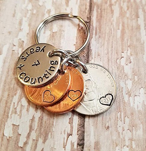 7 Years and Counting 7th Anniversary Key Chain Lucky 2011 Pennies and Nickel