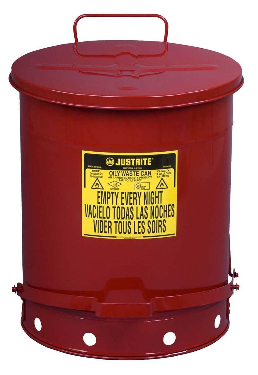 Justrite 9500 14 gal Red Galvanized Steel Oily Waste Can With Foot Lever Opening Device, English, 15.34 fl. oz., Plastic, 16'' x 16'' x 14''