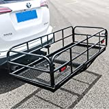 "60"" x 24"" Folding Hitch Mount Cargo Carrier Basket Foldable Hitch Cargo Carrier Mounted Cargo Basket Luggage Rack 2"" Receiver"