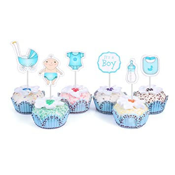 Amazon 48 Cupcake Toppers For Baby Shower Its A Boy Kids