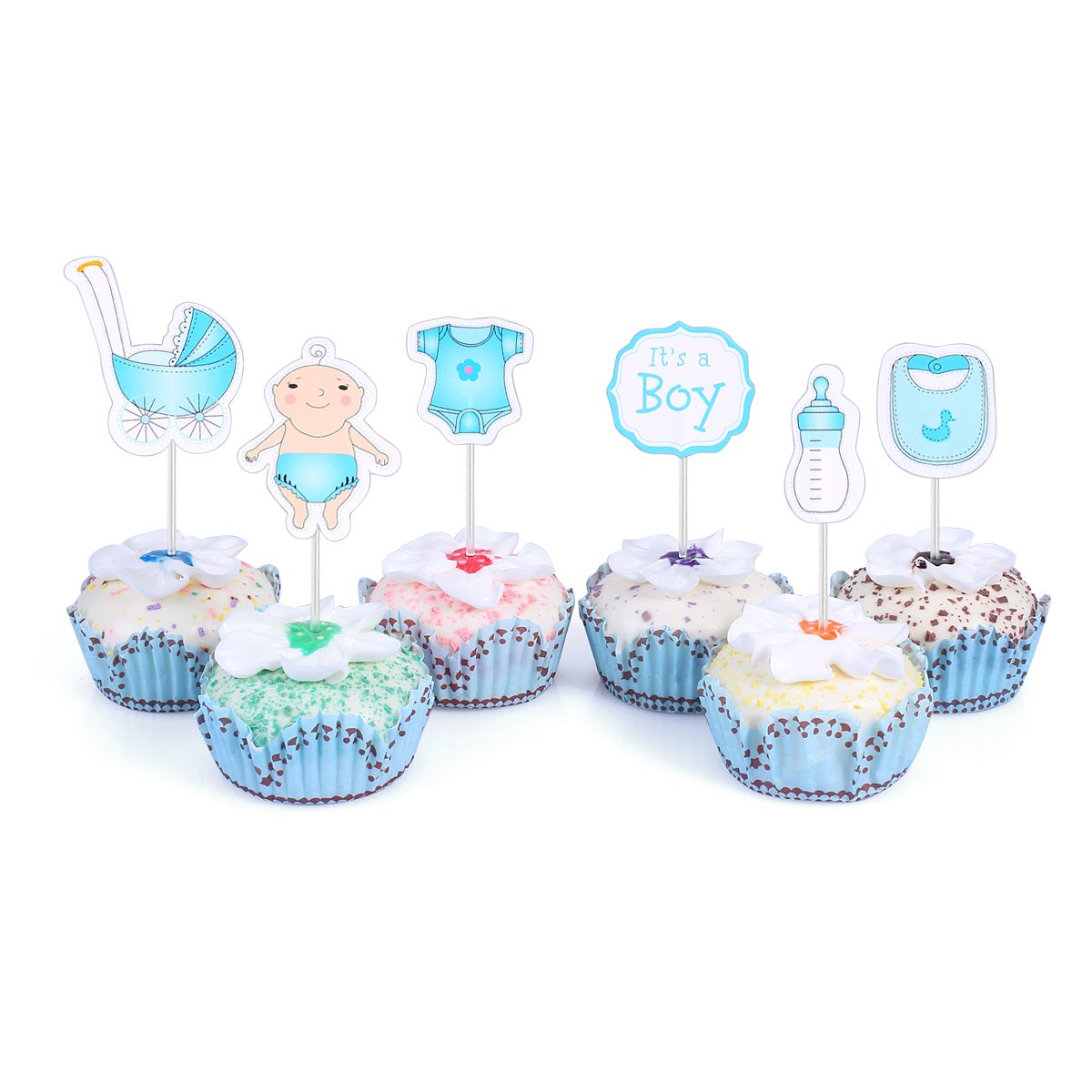 Amazon.com: 48 Cupcake Toppers for Baby Shower It's a Boy Kids Party Cake  Decorations Blue: Kitchen & Dining