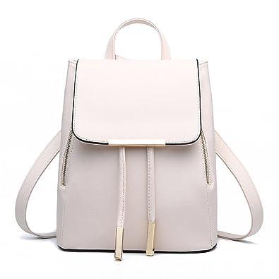 e5a5ec5e38 Amazon.com  FOLLOWUS Women PU Leather Backpack School Bag Shoulder Bags  Fashion Travel Bags Casual Daypack (Beige)  Shoes