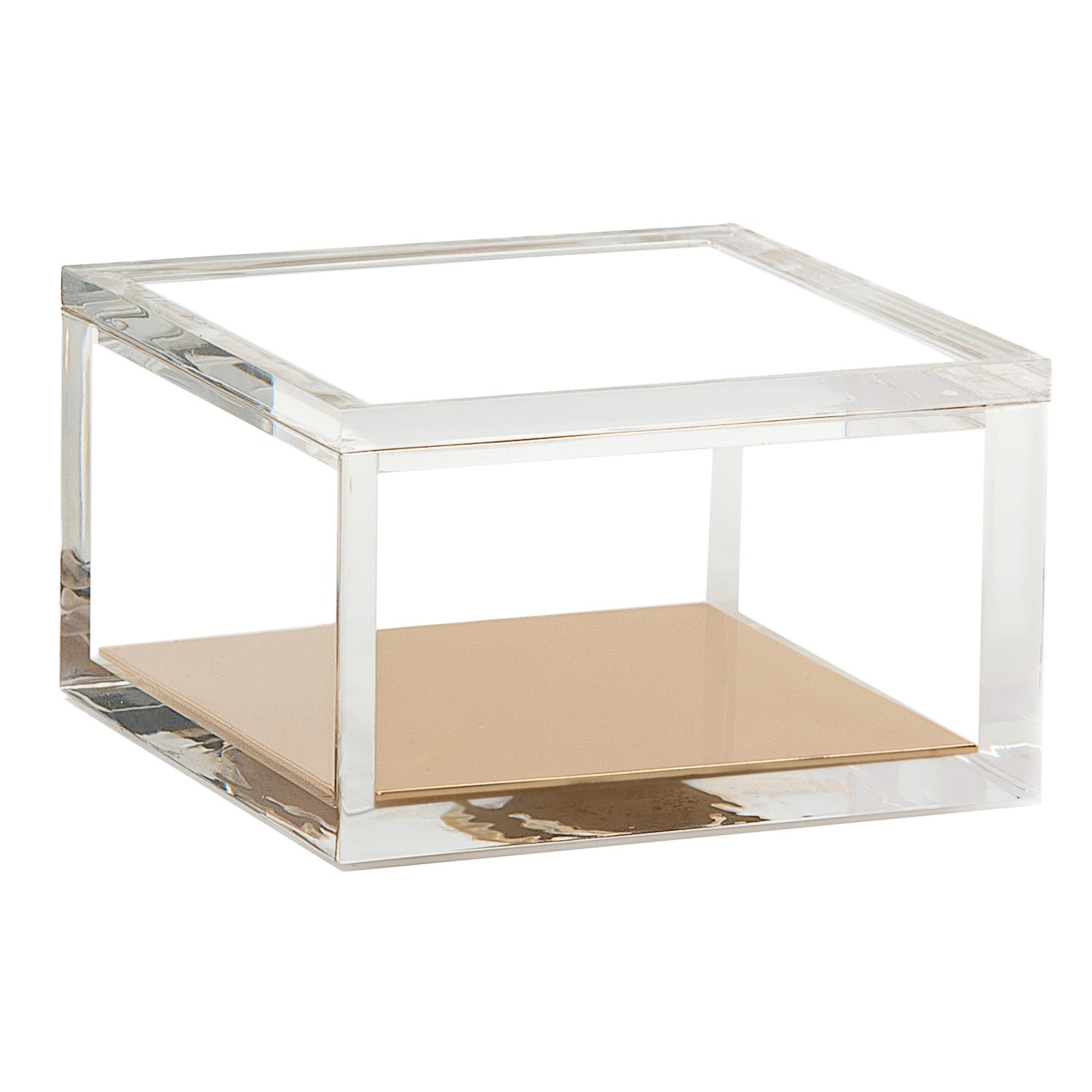 Acrylic & Gold Odds & Ends Box - A Classic Modern Design to Help Organize and Brighten Up Your Desk – Elegant Office Accessory (Small)