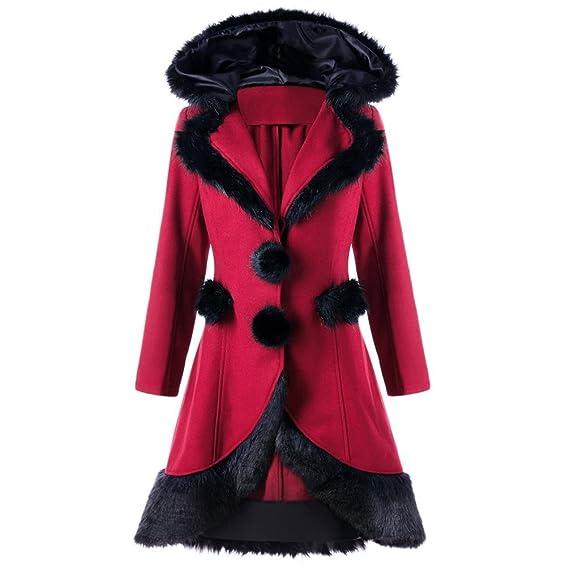 Noël Manteau Patineuse,OverDose Veste Longue Femme Hiver Rouge Parka Col en Fausse Fourrure Outwear