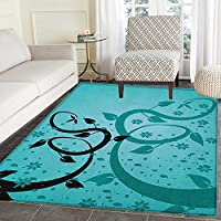 Teal Area Rug Carpet An Abstract Floral Arrangement Nature Winding Tendrils Design Flora Drawing Style Living Dining Room Bedroom Hallway Office Carpet 3x4 Turquoise Black