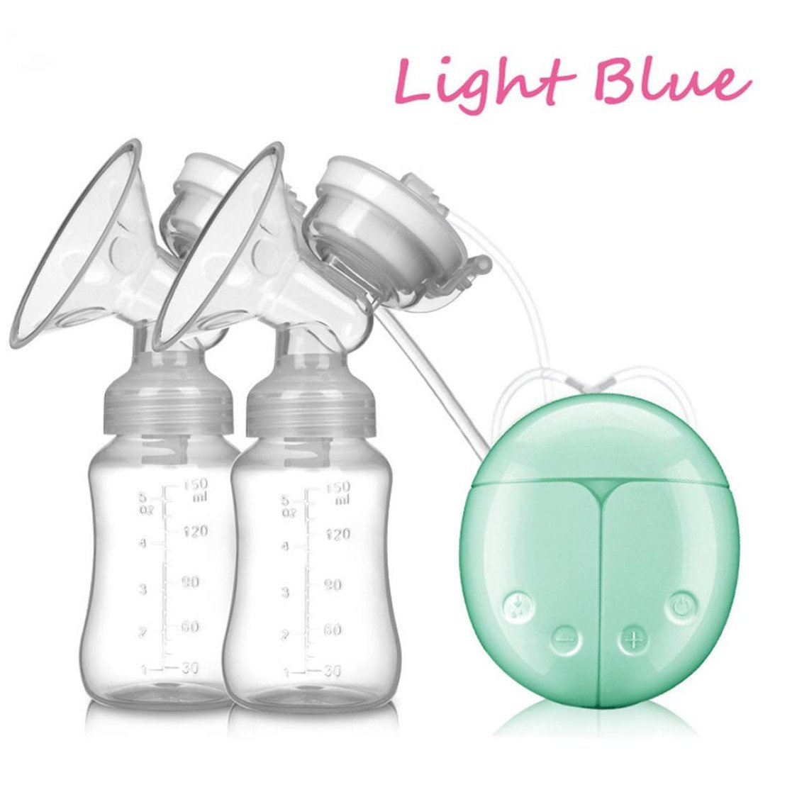 USB Double Intelligent Electric Breast Nipple Suction Automatic Breast Pumps Breastpump Kit Baby Feeding (Green)