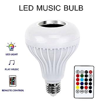 Bombilla LED Bluetooth Altavoz, glamouric Smart E27 inalámbrica de música estéreo Audio RGB Color cambio de lámpara con 24 teclas mando a distancia: ...