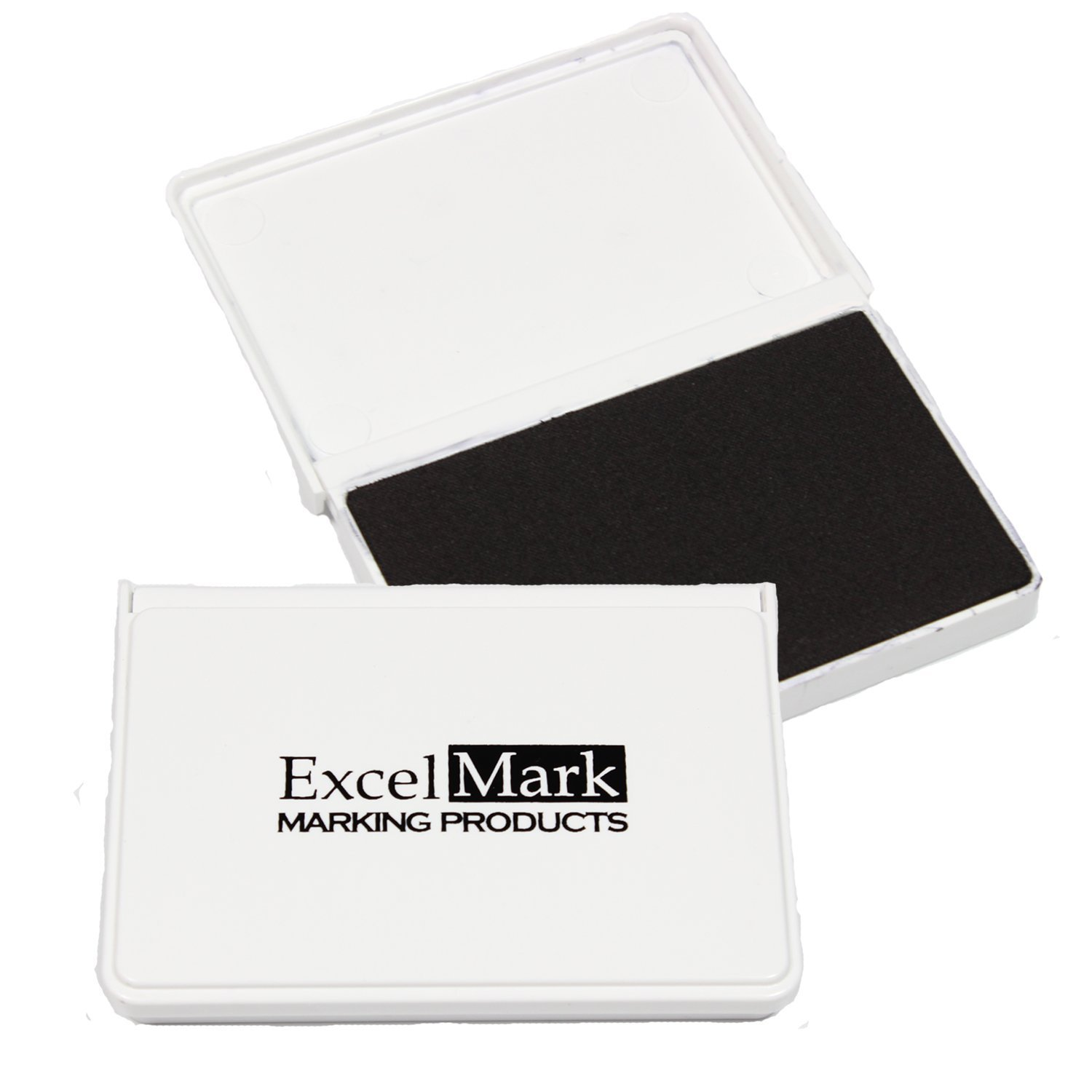 ExcelMark Ink Pad for Rubber Stamps 2-1/8'' by 3-1/4'' (Black Ink) - 2 Pack