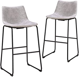 MAISON ARTS 30 inches Bar Stools Set of 2 with Back for Kitchen Counter Bar Height Tall Stools Modern Bar Chairs High Upholstered Barstools for Kitchen Island, Light Gray