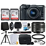 Cheap Canon EOS M6 Mirrorless Digital Camera + EF-M 15-45mm f/3.5-6.3 is STM Lens (Graphite) + 32GB Memory Card + Camera/Camcorder Bag + Quality Tripod + USB Card Reader + 49mm UV Filter – Accessory Bundle