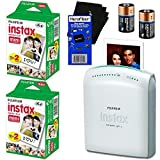 Fujifilm Instax Share SP-1 Smartphone Printer + Fujifilm Instax Mini Instant Film (40 sheets) + 2 CR2 Lithium Replacement Batteries + HeroFiber Ultra Gentle Cleaning Cloth