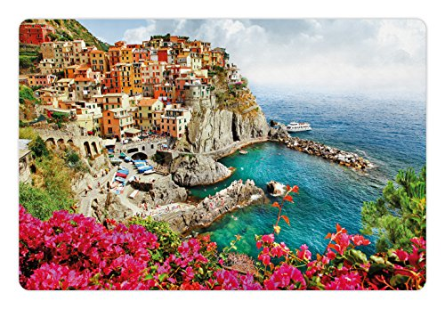 Ambesonne Italy Pet Mat for Food and Water, Monarola Antique Village in Cinque Terre Coastal Panorama Summer Beach Scenic View, Rectangle Non-Slip Rubber Mat for Dogs and Cats, Multicolor