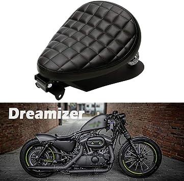 Dreamizer Sedile Bobber in pelle nera per motocicletta Sedile singolo per moto con piastra base staffa a molla per Sportster XL883 1200 48 Chopper Custom