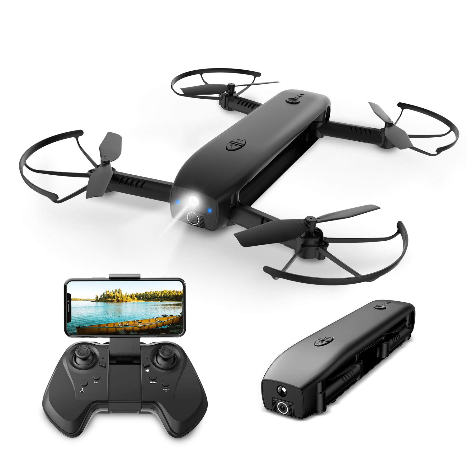 Holy Stone FPV Drone with Camera 1080P HD Foldable Drones for Adults with Optical Flow Positioning, RC Quadcopter with Handheld Camera Mode, Portable Charger Function, Modular Battery,8G TF Card,HS161 by Holy Stone