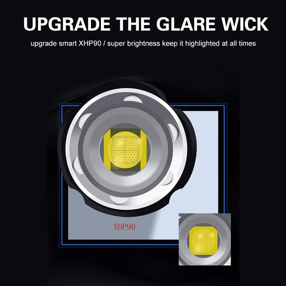 Waterproof Glare Lighting Outdoor Lighting LED with USB Rechargeable Flashlight Telescopic Focusing Aluminum Alloy Shell Flashlight A