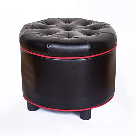 Pleasing Louis Donne Faux Leather Button Tufted Round Storage Ottoman With Small Kid Stool 2 In 1 Design Footrest Ottoman Set Black Inzonedesignstudio Interior Chair Design Inzonedesignstudiocom