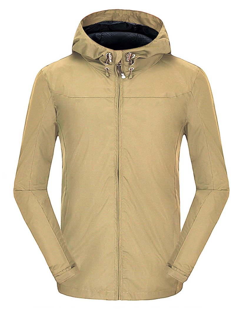 Spmor Women's Waterproof Lightweight Jacket Rain Coat Windproof Skin Hooded Jacket Khaki Large