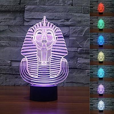 Amazon.com: superniudb 3d Egipto Esfinge de faraón lámpara ...