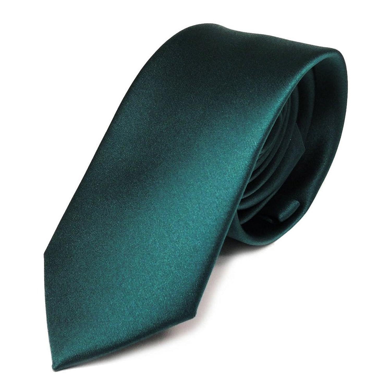 Schmale tigertie satin krawatte grün petrol dunkles türkis ...